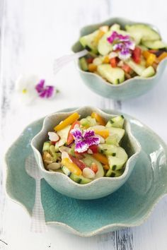 Summer Cucumber Salad -- So pretty! (I'd leave out half of the oil, but other than that, YUM! Healthy Recipes, Fruit Recipes, Cooking Recipes, Cooking Tips, Cucumber Recipes, Drink Recipes, Salad Recipes, Think Food, Love Food