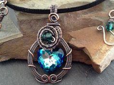 Heart pendant,Swarovski Crystal,hand woven copper