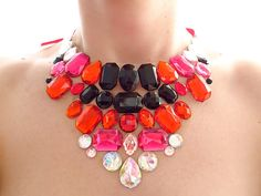 Red Black and Pink Rhinestone Bib Necklace, Burlesque Necklace, Statement Necklace, Jeweled Bib
