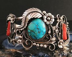 Silver, Turquoise, Coral Native American Indian Estate Cuff Bracelet.