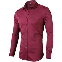 af2be2e1e03f7f INFLATION Herren Hemd aus Bambusfaser umweltfreudlich Elastisch Slim Fit  für Freizeit Business Hochzeit Reine Farbe Hemd