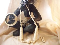 African Tribal white Buffalo Bone Necklace set  with bangle bracelet #3