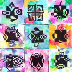 First batch of Notan designs pulled fresh off the drying rack! Excited to see what next week's classes create! #4thgrade #notan #positivespace #negativespace #tissuepaperbleedingart #marshallelementaryart #artteachersofinstagram #artteacher