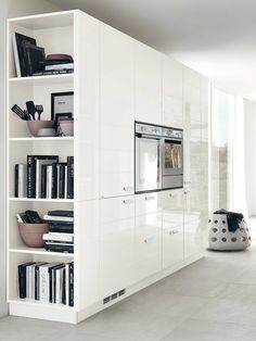 The range of wall cupboards with tall and larder units can feature open units and shelves at the ends Kitchen Wall Units, Wall Cupboards, Kitchen Room Design, Modern Kitchen Design, Home Decor Kitchen, Kitchen Interior, Kitchen Seating Area, Bedroom Cupboard Designs, Cuisines Design