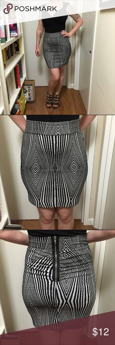 """Black & White Graphic Zipper Miniskirt Black & white stretchy geometric print mini pencil skirt. Label is """"My Beloved."""" Originally purchased several years ago from Karmaloop.com. I've worn it a handful of times and washed on cold delicate cycle, hung dry. No pilling, no stains. I just don't wear it anymore, and never wore it much to begin with. Super stretchy knit. 20"""" long. Back zipper with gathers. 30% cotton, 16% polyester, 4% spandex. Model's waist = 29"""", hips 41"""". Skirts Mini"""