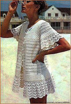 Crochet Blusas Patterns Misses Lace Beach Dress, Cover Up Vintage Crochet Pattern PDF Gilet Crochet, Crochet Jacket, Crochet Cardigan, Crochet Shawl, Knit Crochet, Beach Crochet, Crochet Tops, Crotchet, Crochet Bikini