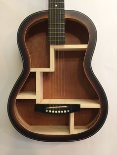 Guitar Shelf # 42. Recycled acoustic guitar with custom shelves and re-attached bridge & strings. by aRRtstudios on Etsy