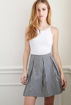 Box-Pleated Gingham Skirt | Forever 21 - 2000077233