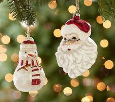 Santa & Snowman Mercury Glass Ornaments #pbkids