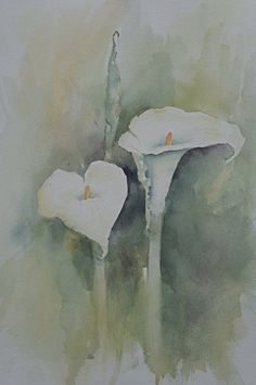 One of my favorite artists! Original Watercolor Painting  Calla Lilies III by CaCoArt on Etsy, $110.00