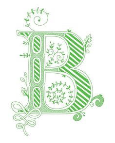 Hand drawn monogrammed print 8x10 the Letter B in by jenskelley, $15.00