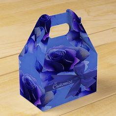 Blue Roses Floral Pattern Gable Favor Box