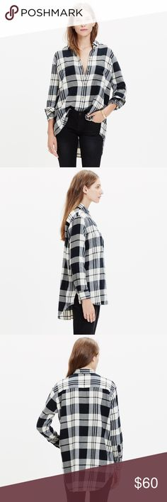 Madewell Flannel Oversized Boyshirt •An oversized version of the tomboy shirt with a cool slit shirttail hem. An easy shape fashioned in the softest flannel.  100% cotton.  •Size XS, oversized fit.  •New with tag.  •NO TRADES/HOLDS/PAYPAL/MERC/VINTED/NONSENSE. Madewell Tops Button Down Shirts