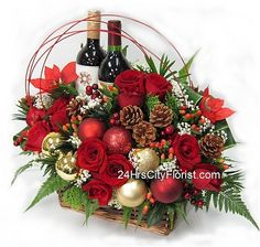 Christmas wine and flowers