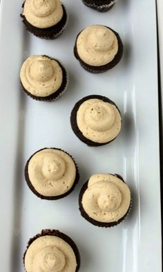 Lindsay's Mini Chocolate Truffle Cupcakes w/ Peanut Butter Icing - thecafesucrefarine.com