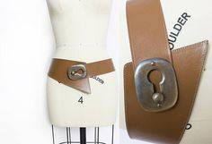 Vintage 1980s Belt  Oversized White Leather  Silver Buckle
