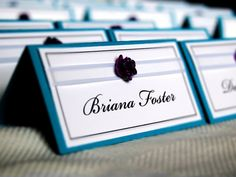Wedding place card teal and purple rose by SnowcaptDesigns on Etsy, $1.50