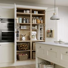This heritage five-piece design has a door front and a veneered centre panel for a premium feel. Choose from a wide selection of cabinet options, such as curved designs, to create a custom look. Shaker Style Doors, Shaker Doors, Kitchen Views, Kitchen Units, Corner Storage, Wall Storage, Howdens Kitchens, Clever Kitchen Storage, Door Fittings
