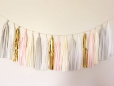 Gray and Gold Tassel Garland Banner - Party Decor, Nursery Decor, Wedding Decor, Birthday Party, Photo Backdrop, Baby Shower Pink Tassel