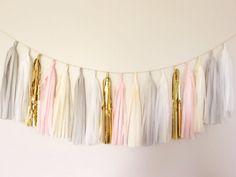 Gray and Gold Tassel Garland Banner - Party Decor, Nursery Decor, Wedding Decor, Birthday Party, Photo Backdrop, Baby Shower Pink Tassel