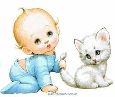 Baby and Kitten Baby Pictures, Cute Pictures, Baby Painting, Precious Children, Baby Kittens, Baby Art, Baby Scrapbook, Cute Gif, Baby Prints