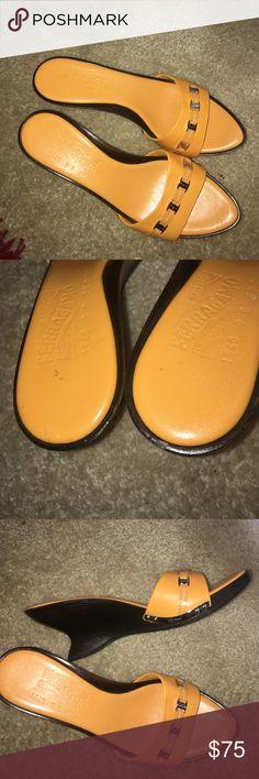 "Salvatore Ferragamo Orange Silde Sandals 9B Great condition except the small back chip as show on the picture. Heel is 2.5"" Salvatore Ferragamo Shoes Sandals"