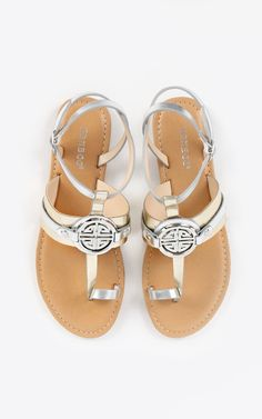 Bamboo bellagio metallic coin sandals, amazing coin accent! | MakeMeChic.com