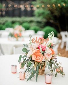30 Coral Wedding Decorations Ideas ❤ coral wedding decorations wedding table decor Multifaceted and unique, bright and light, it's all about coral color. Best coral wedding decorations are collected here. Coral Centerpieces, Coral Wedding Decorations, Coral Wedding Themes, Wedding Table Centerpieces, Floral Wedding, Wedding Bride, Coral Color Wedding, Peach Wedding Decor, Coral Wedding Flowers