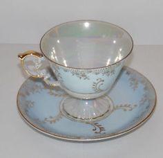 Decorative Bone China Cup Saucer Set Light Blue Gold Trim Floral #1809 #vintage #gold #trim #cup #saucer #bone #china #floral