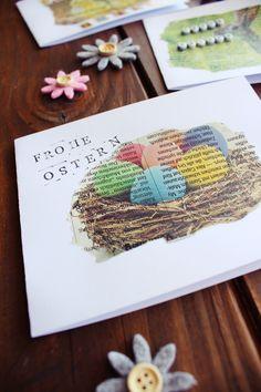 Schnelle Osterkarten DIY, Drucken auf Zeitungspapier