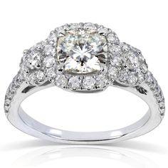 Annello by Kobelli 14k White Gold Forever One Cushion Moissanite and 3/4ct TDW Diamond Engagement Ri (Size 10.5), Women's