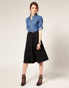 ASOS   ASOS Ponti Midi Skirt With Belt at ASOS