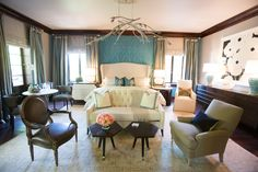 Master Bedroom - Traci Rhoads - Traci Rhoads Interiors - 2014 @asashowhouse #bed #teal #wallcovering #windows #light #color #art #seating #chairs