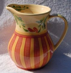 Gail Pittman Annabella Pottery Pitcher Blue Trellis Purple Red