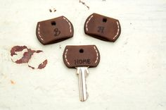 Personalized Set of Three Leather Key Cover by mbgfashionstudio