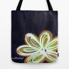 Navy and Gold Flower Tote Bag https://www.facebook.com/juliemstudios