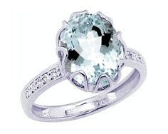 14K White Gold Promise Ring Aquamarine & Diamond Crown Jewel..