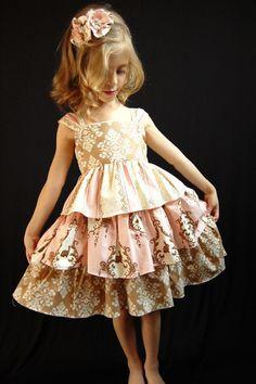 Vintage Bunny Damask Ruffle Dress........Sizes 6m, 12m, 18m, 2T, 3T, 4T, 5, 6, 7