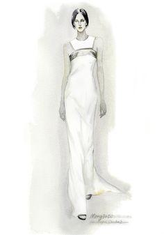 Fashion Illustration - delicate ink & watercolour fashion drawing of long white dress // Mengjie Di