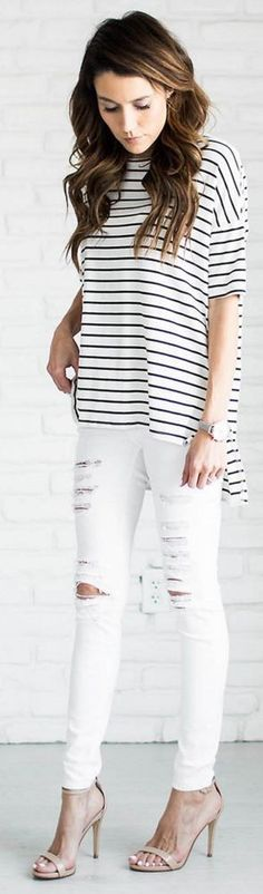 #summer #fashion #outfitideas | Striped Top + Ripped Jeans