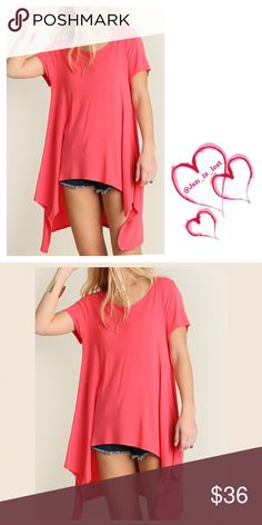Hi-Lo Tunic S,M,L Confident Minimalist Basic Tunic