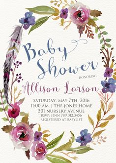 Spring Baby Shower Invitation Printable, Boho Chic Feathers Floral Wreath Invite, Gender Neutral Colors, Its a Boy Baby Sprinkle  PLEASE NOTE:…