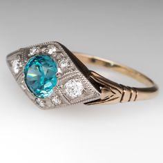 Antique Blue Zircon & Old Euro Diamond Ring