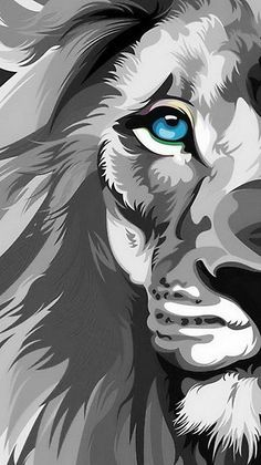 This is a blue-eyed lion in gray tones design