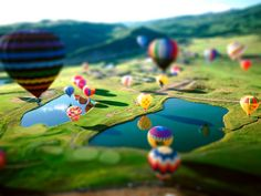 balloons tilt shift photography