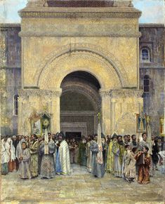 The Departure of the Procession from St. Etchmiadzin Cathedral, 1895 - Vardges Sureniants - WikiArt.org