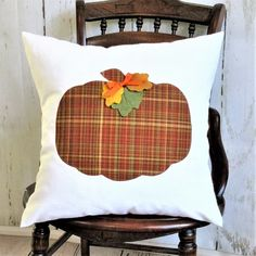 Made from IVORY cotton canvas fabric Envelope closure backing. Felt leaves of yellow, burnt orange and green with ribbon accents. Cover only or pillow with insert available. Pumpkin Pillows, Fall Pillows, Burlap Pillows, Throw Pillows, Thanksgiving Decorations, Halloween Decorations, Fall Decorations, Canvas Fabric, Cotton Canvas