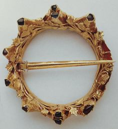Ring Brooch with jewels & vines 13th or 14th Century