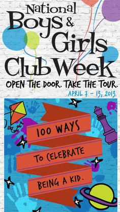 It's National Boys & Girls Club Week, & we're opening 4,000 doors nationwide to show our communities how great futures begin at Boys & Girls Clubs.    Even if you can't get to your local Club, you can still celebrate the spirit of our Movement by spending time with an important kid in your life. Since we serve some 4 million kids every year, we know a thing or two about activities that inspire imaginative young minds and put kids on the path to great futures.