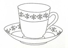 Tea Cup Coloring Pages Printable Hand Embroidery Patterns, Applique Patterns, Embroidery Applique, Cross Stitch Embroidery, Machine Embroidery, Embroidery Designs, Vintage Embroidery, Tampons, Mug Rugs
